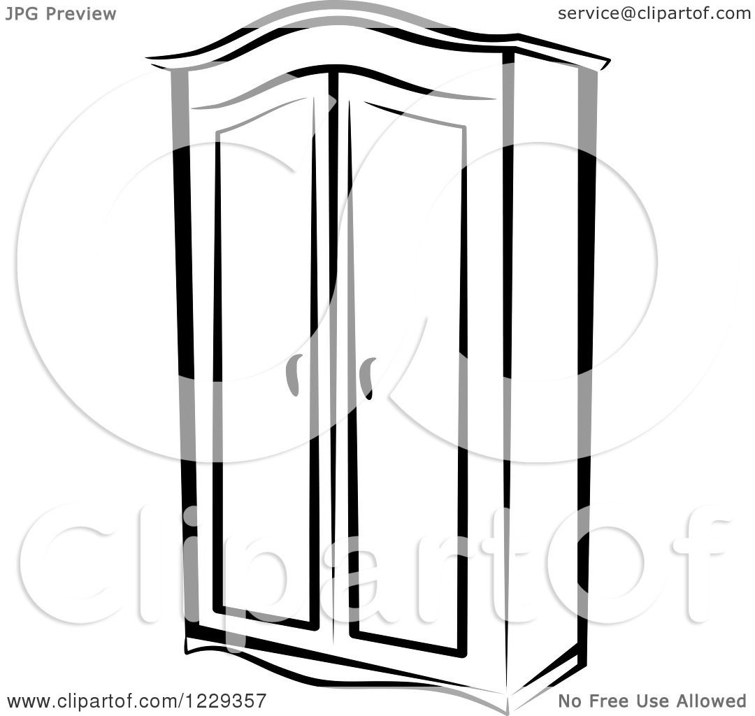 Wardrobe clipart black and white  Clipart of a Black and White Wardrobe Closet - Royalty Free Vector ...