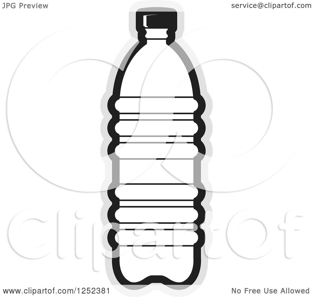 Clipart of a Black and White Water Bottle and Gray Outline ...