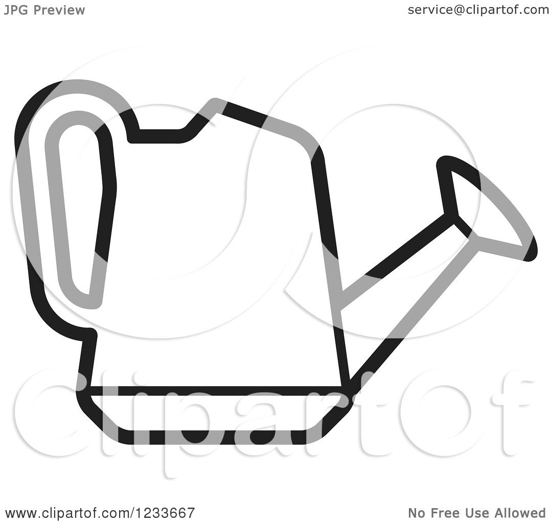 clipart of a black and white watering can royalty free vector rh clipartof com