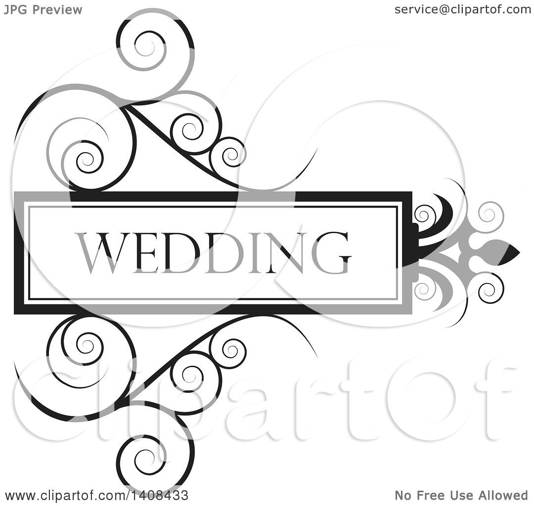 Clipart of a Black and White Wedding Swirl Design Element