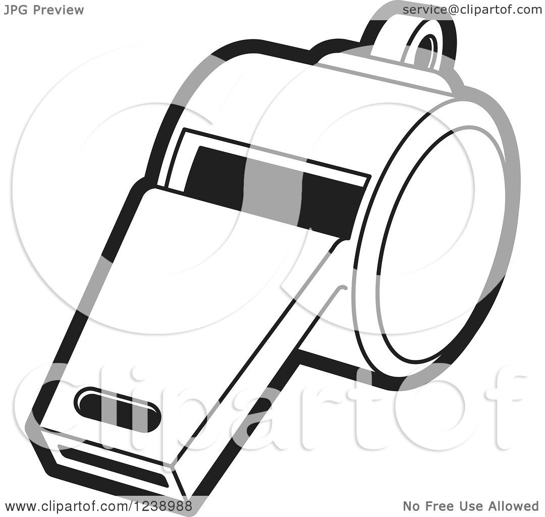 Clipart of a Black and White Whistle 3 - Royalty Free ...