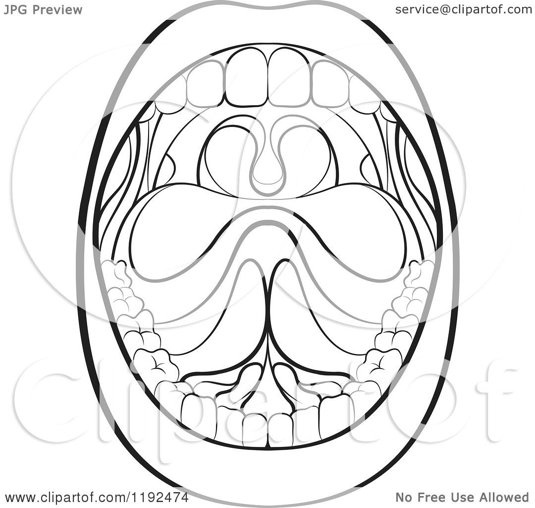 Clipart of a Black and White Wide Open Mouth - Royalty ...