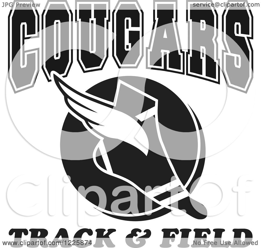clipart of a black and white winged shoe with cougars team track and rh clipartof com Track Meet Clip Art Bobcat Tracks Clip Art