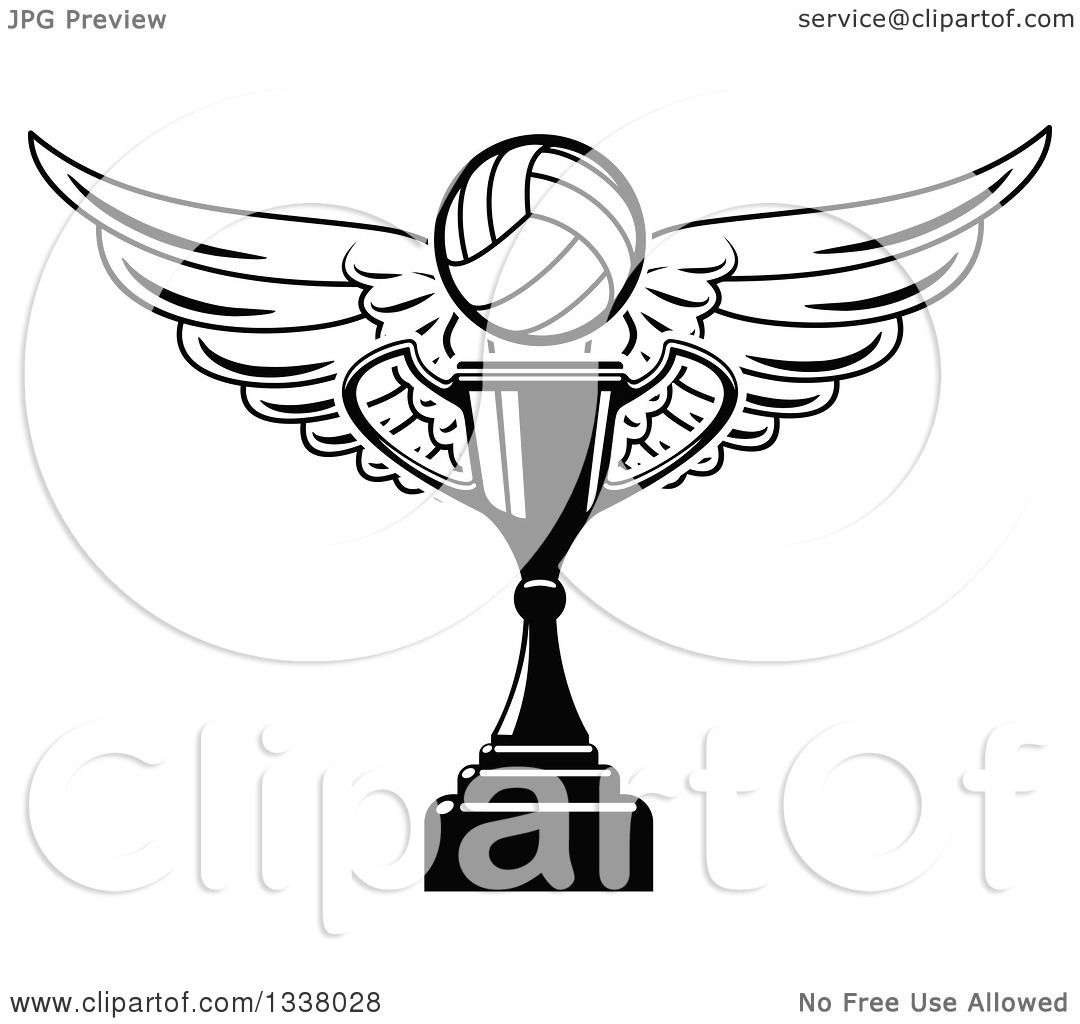 Clipart Of A Black And White Winged Volleyball Over Trophy Cup