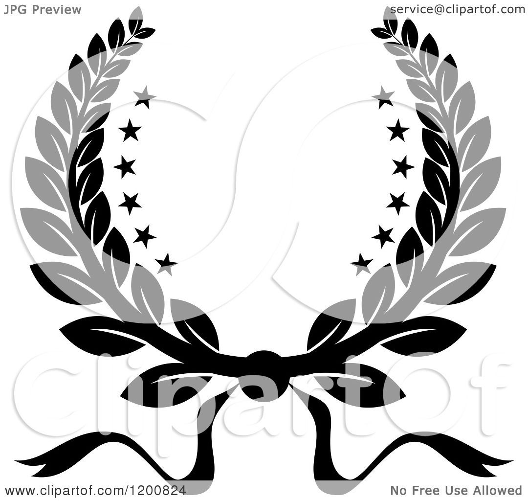 Clipart of a Black and White Winner Laurel Wreath with ...