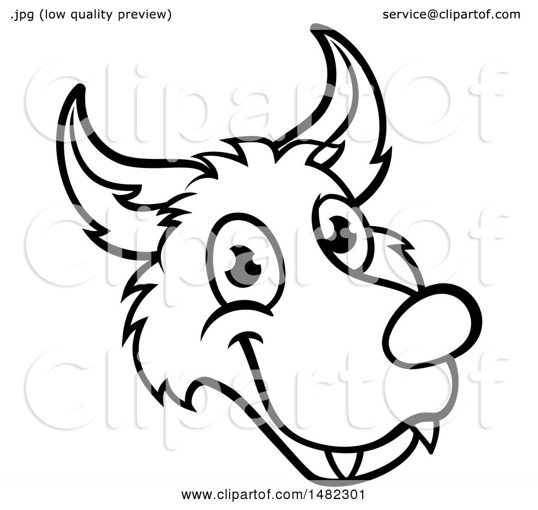Clipart of a Black and White Wolf Face Mascot from the ...