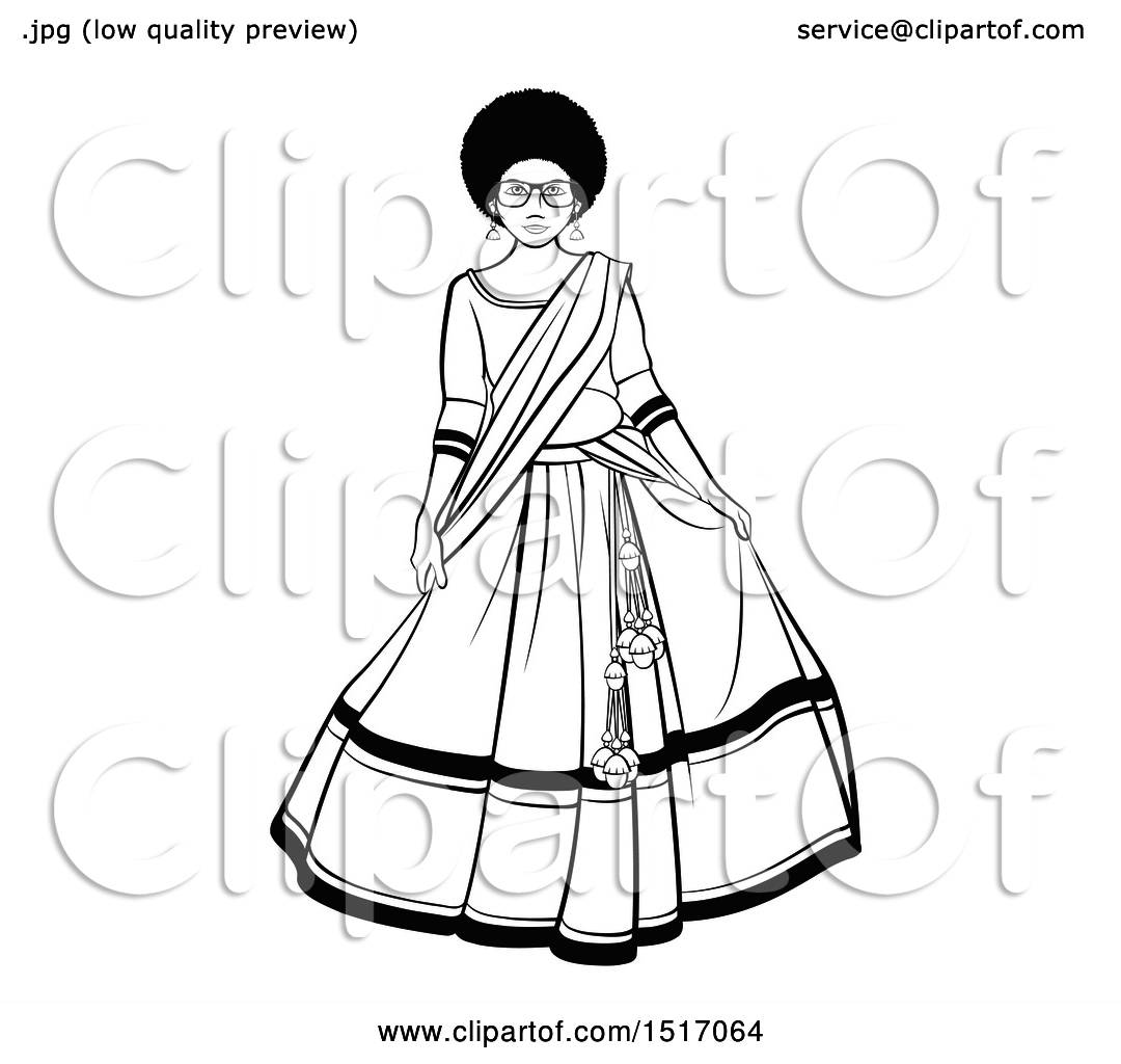 Clipart of a Black and White Woman in a Lehenga Skirt ...