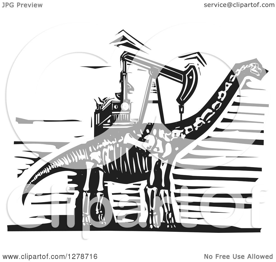 Clipart Of A Black And White Woodcut Apatosaurus Or