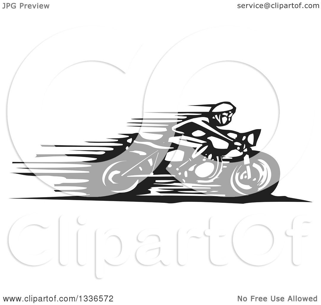Clipart of a Black and White Woodcut Cafe Racer Biker ...