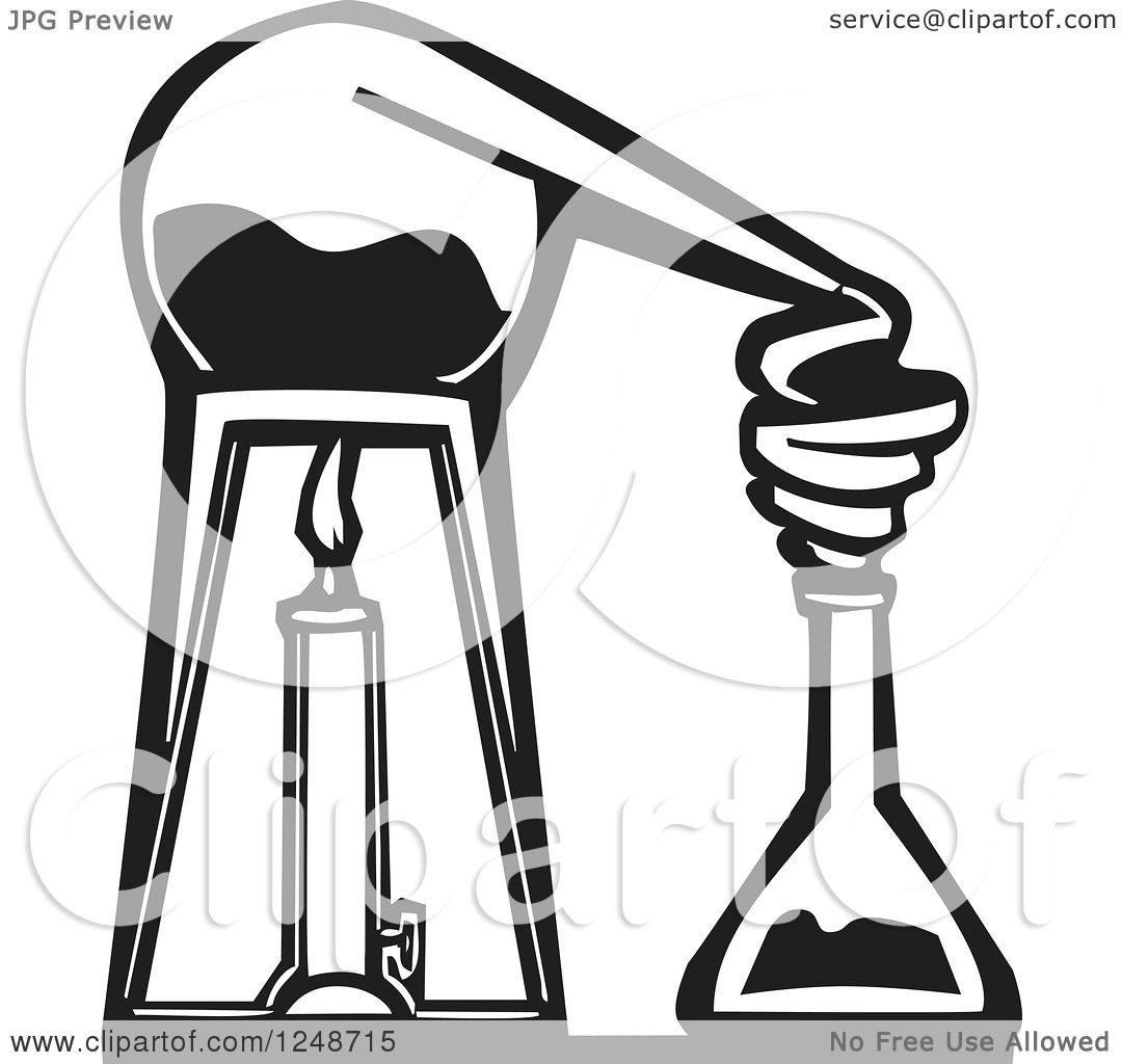 Clipart of a Black and White Woodcut Chemistry Lab Alembic ...