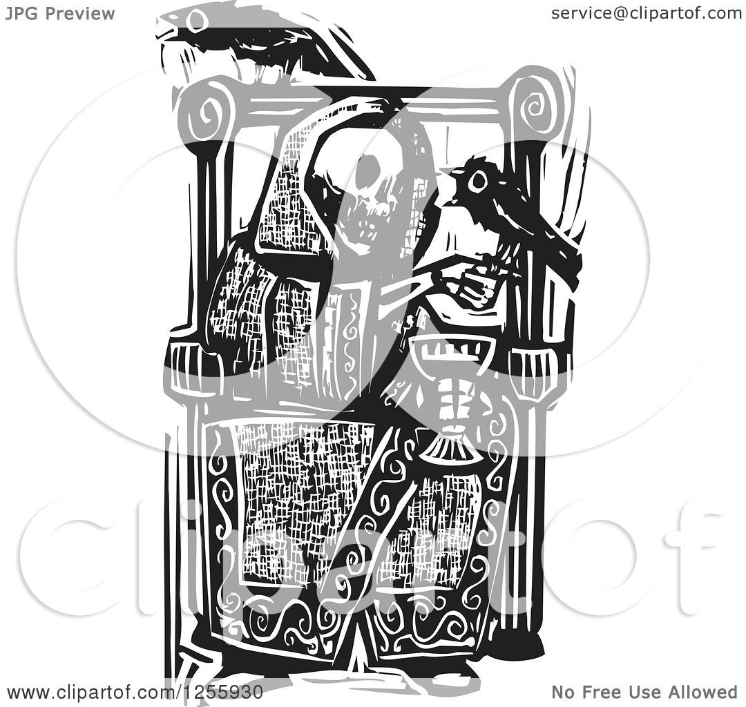 Clipart Of A Black And White Woodcut Death Skeleton