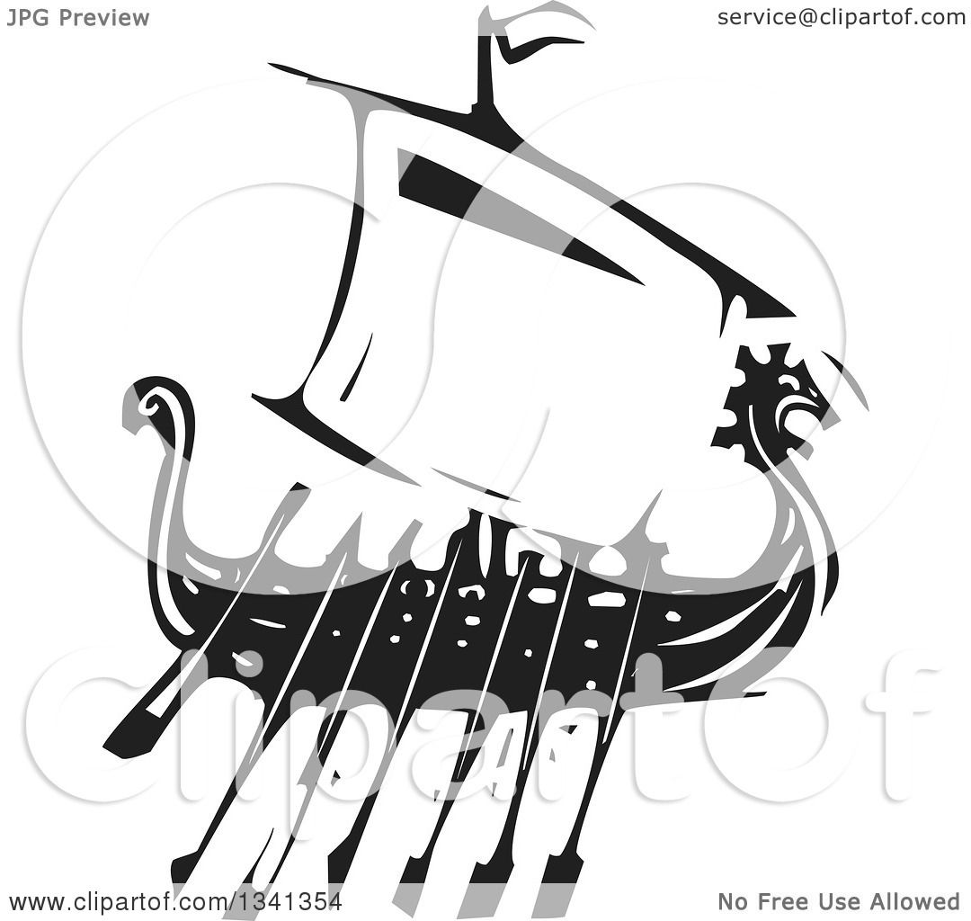 clipart of a black and white woodcut dragon viking ship with oars