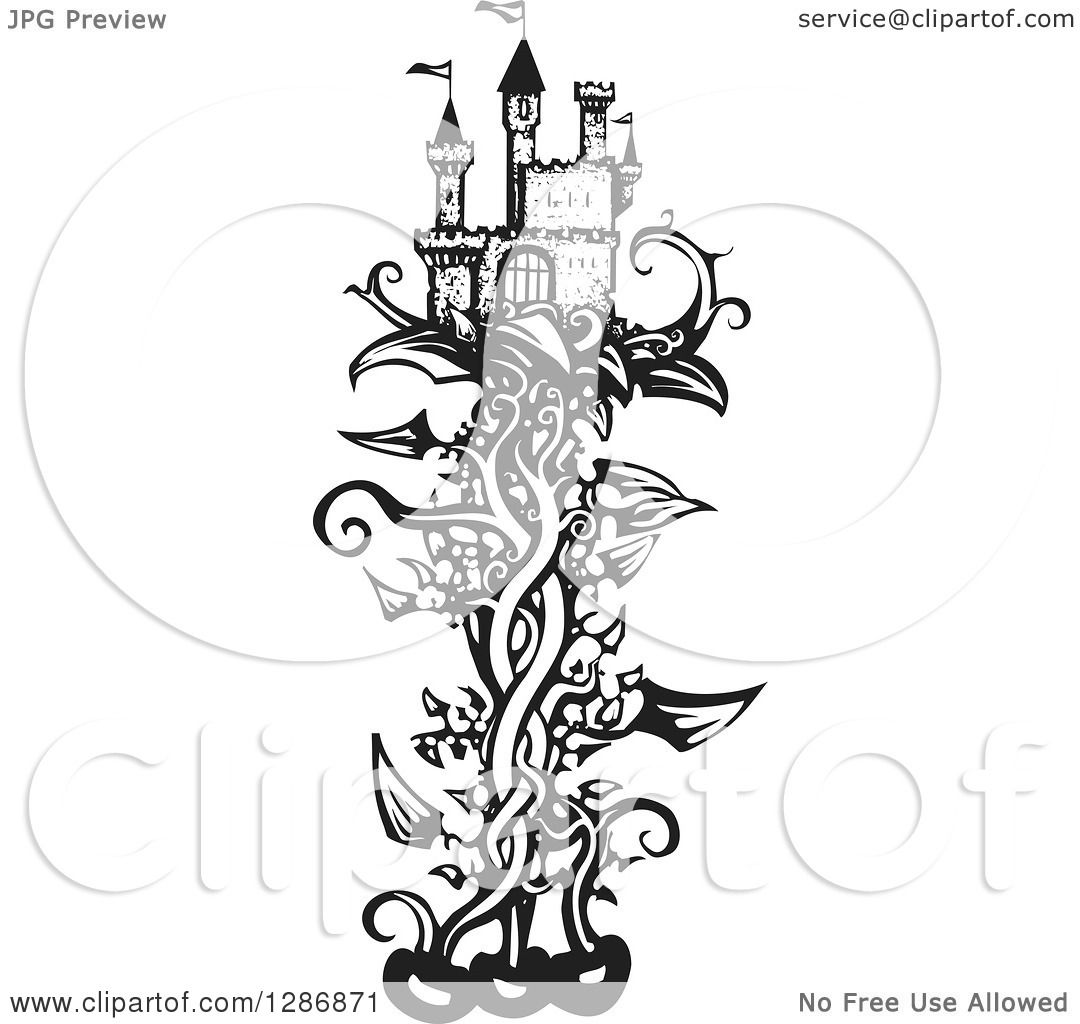 Clipart of a Black and White Woodcut Fantasy Castle on a Beanstalk ...