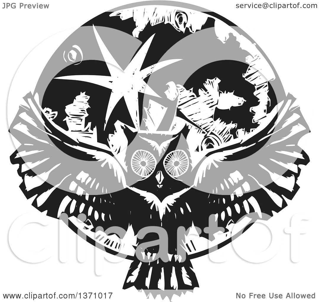 Clipart of a Black and White Woodcut Flying Owl over a ...