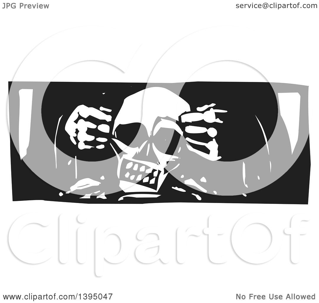 Clipart of a Black and White Woodcut God's Hands Creating a Human ...