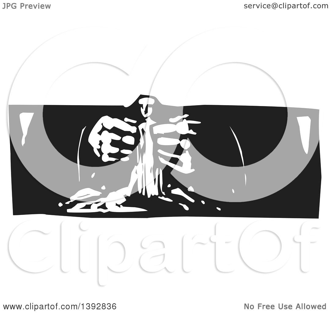 Clipart of a Black and White Woodcut God's Hands Creating a Statue ...