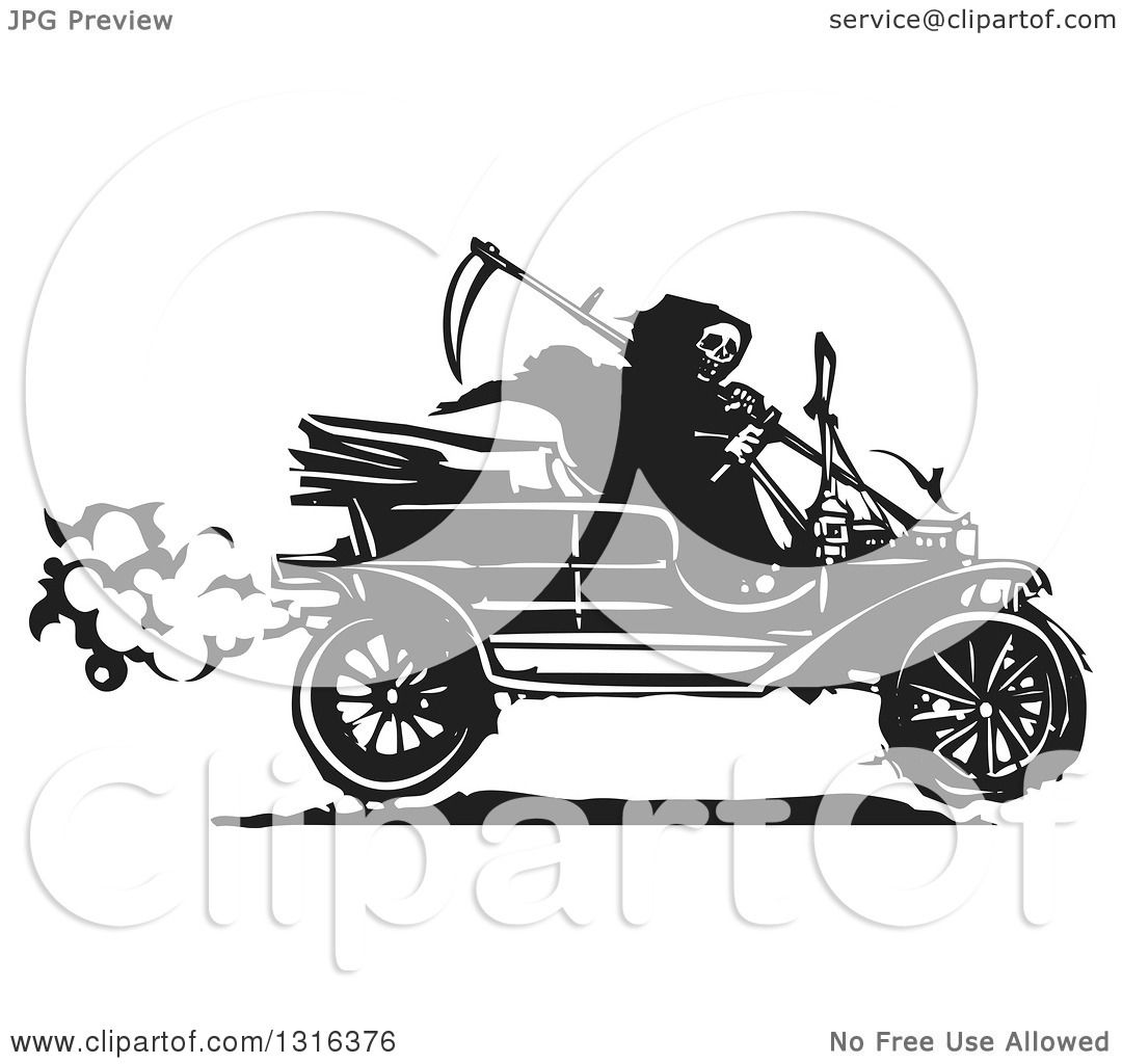 Clipart of a Black and White Woodcut Grim Reaper Driving an ...