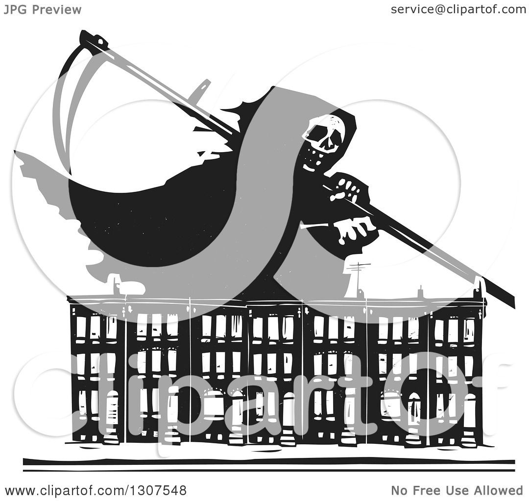 Clipart of a black and white woodcut grim reaper over baltimore clipart of a black and white woodcut grim reaper over baltimore ghetto row house town homes royalty free vector illustration by xunantunich sciox Gallery