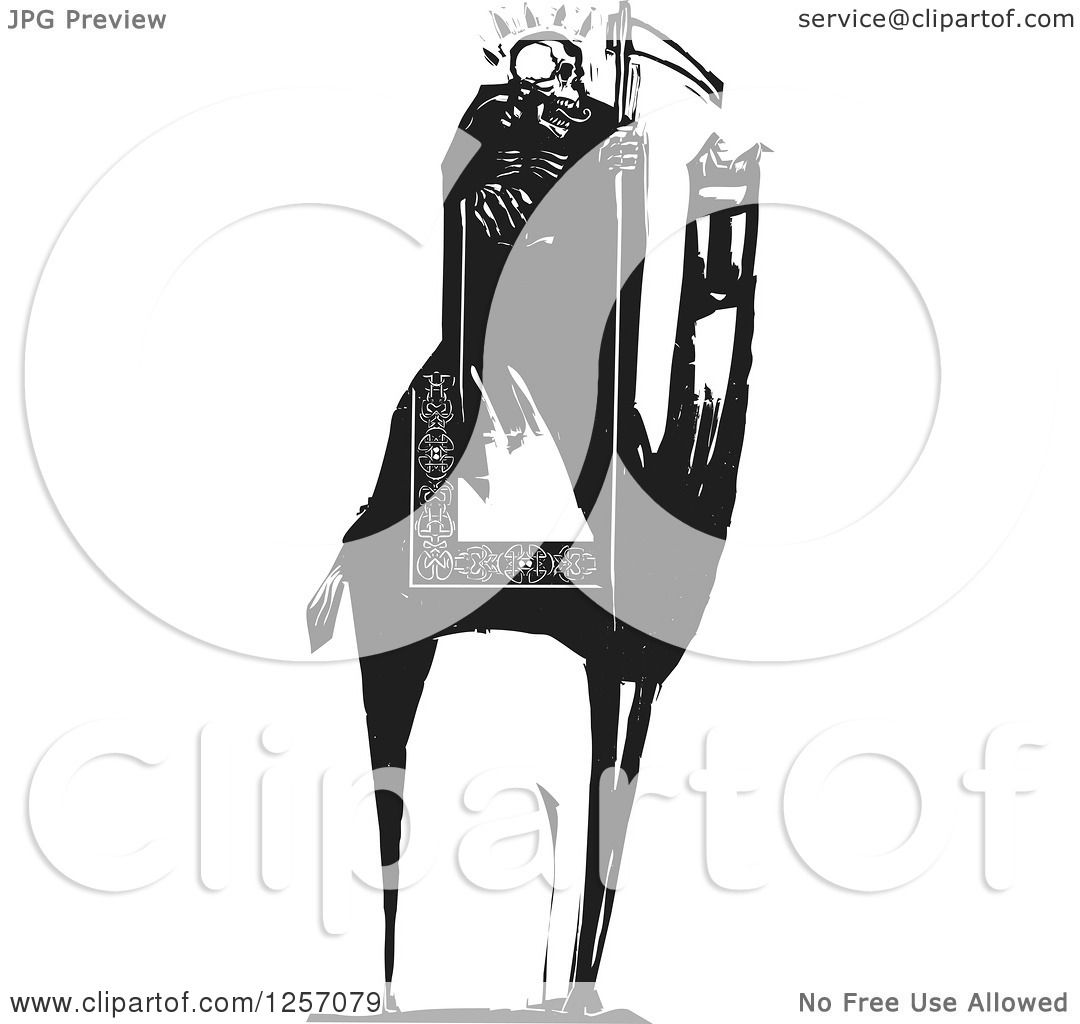 Clipart Of A Black And White Woodcut Grim Reaper Skeleton