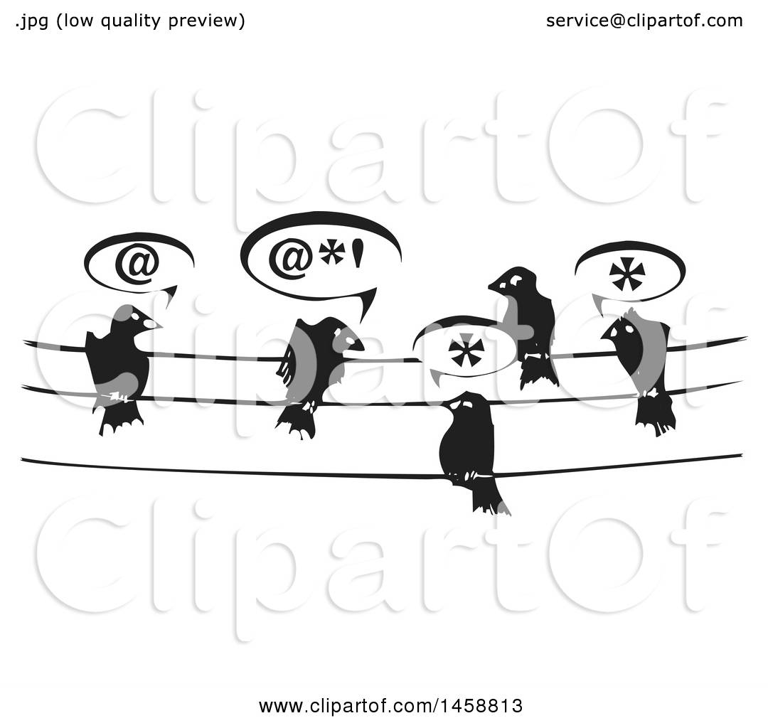 Clipart of a Black and White Woodcut Group of Birds Talking on Wires ...