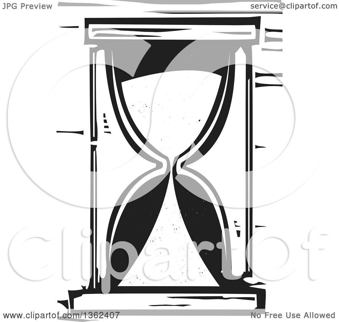Clipart of a Black and White Woodcut Hourglass - Royalty ...
