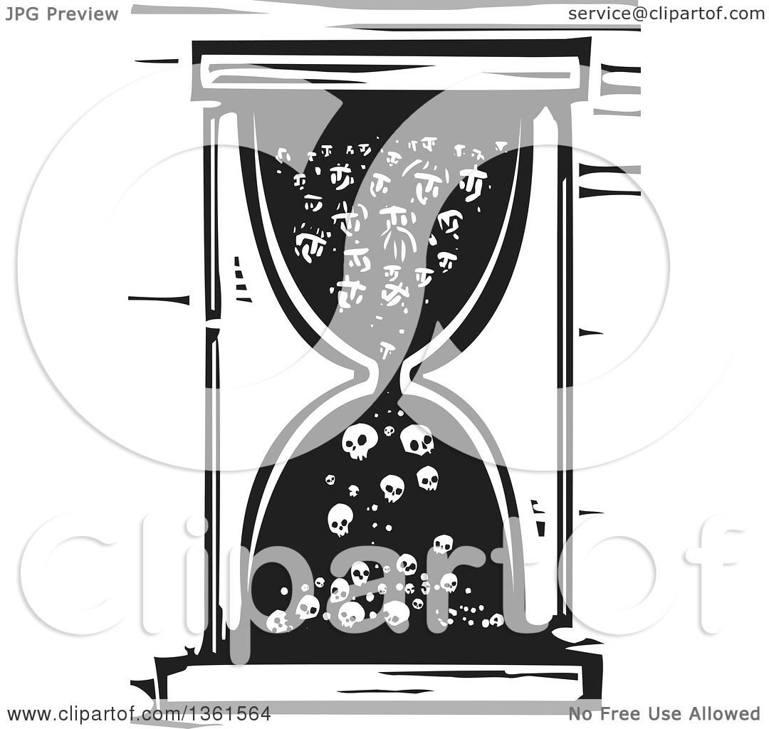 Clipart of a Black and White Woodcut Hourglass with People ...