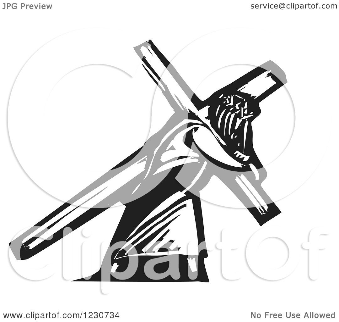 clipart of a black and white woodcut fish under jesus walking on