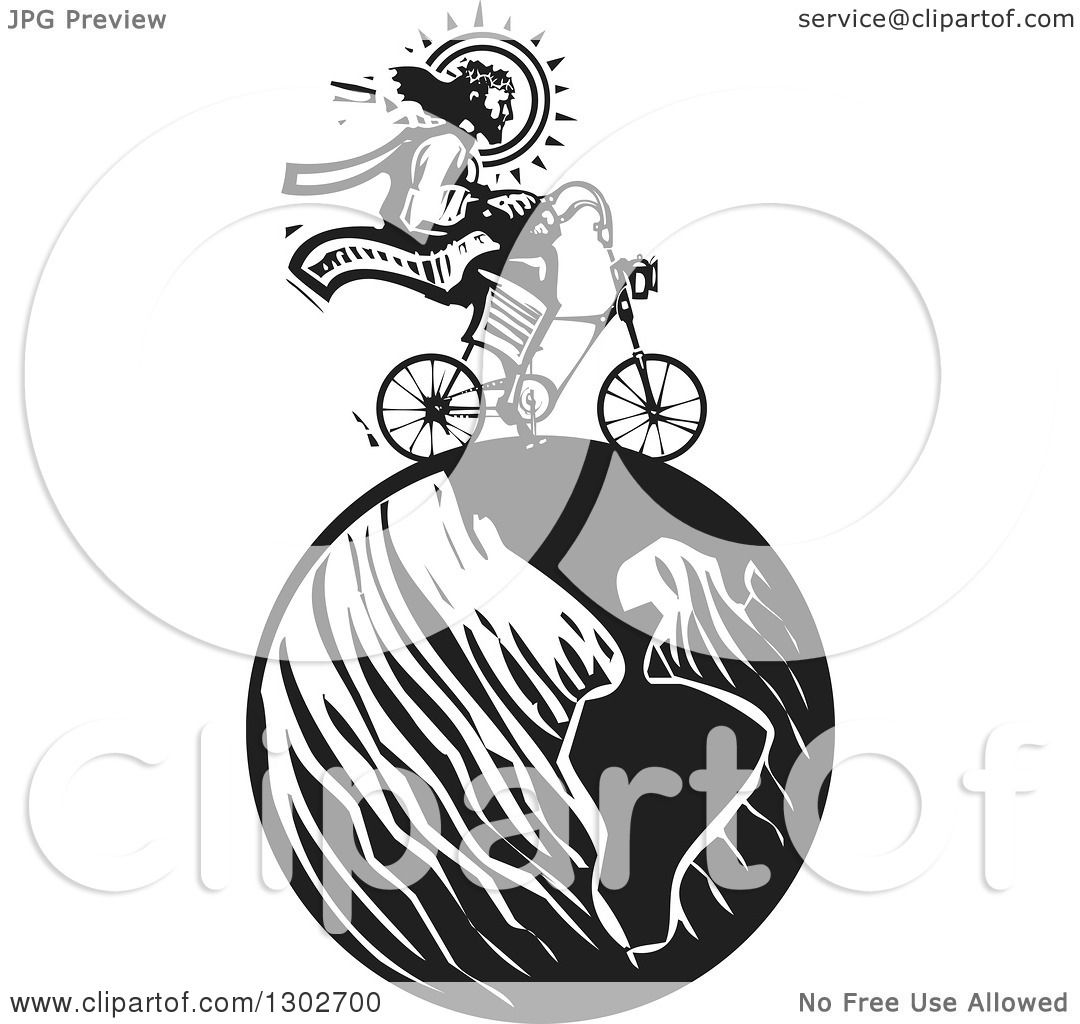 Clipart Of A Black And White Woodcut Jesus Christ Riding A