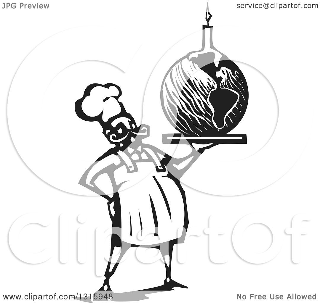 Clipart Of A Black And White Woodcut Male Chef Holding Planet Earth Birthday Cake With Candle