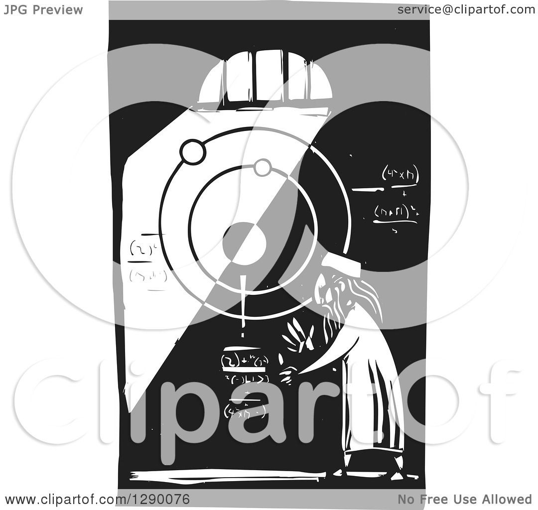 clipart of a black and white woodcut male islamic astronomer solving