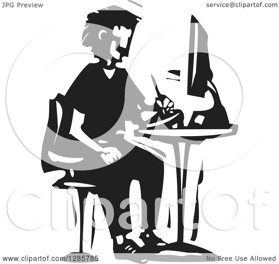 tablet clipart black and white. clipart of a black and white woodcut man drawing on tablet at computer desk - royalty free vector illustration by xunantunich