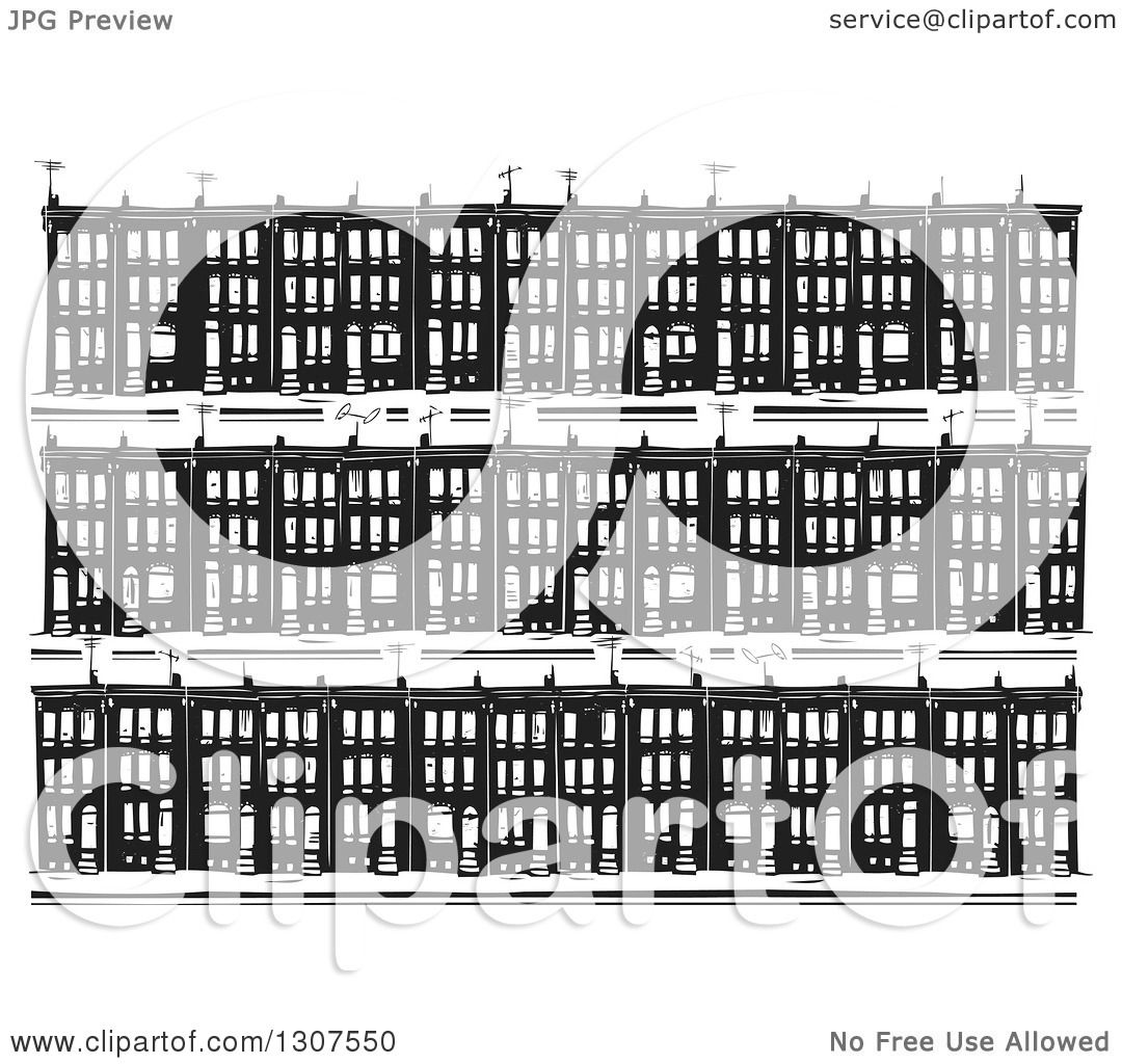 Clipart of a black and white woodcut neighborhood of baltimore clipart of a black and white woodcut neighborhood of baltimore ghetto row house town homes royalty free vector illustration by xunantunich sciox Gallery