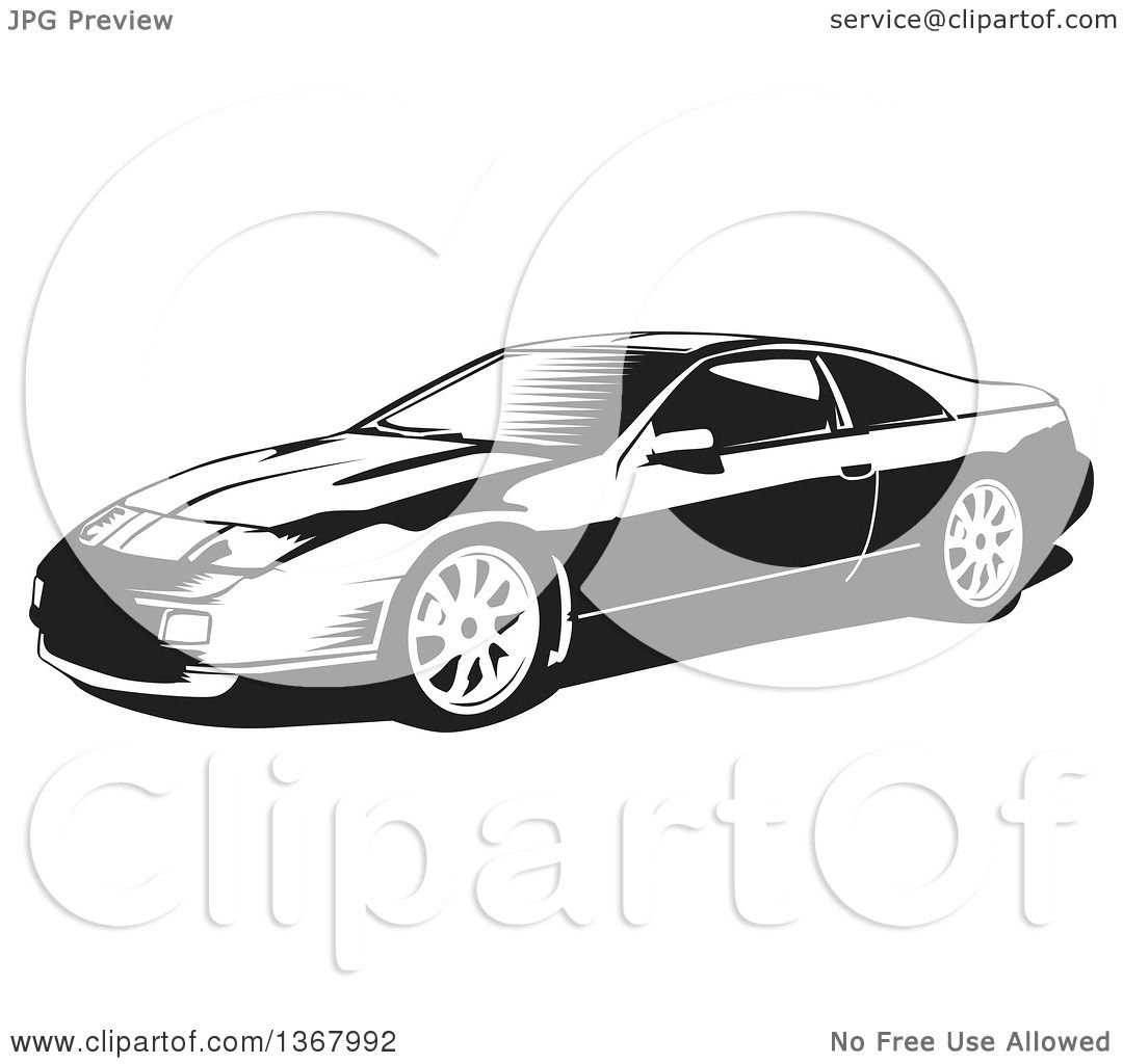 Clipart Of A Black And White Woodcut Nissan 300zx Sports Car   Royalty Free  Vector Illustration By David Rey