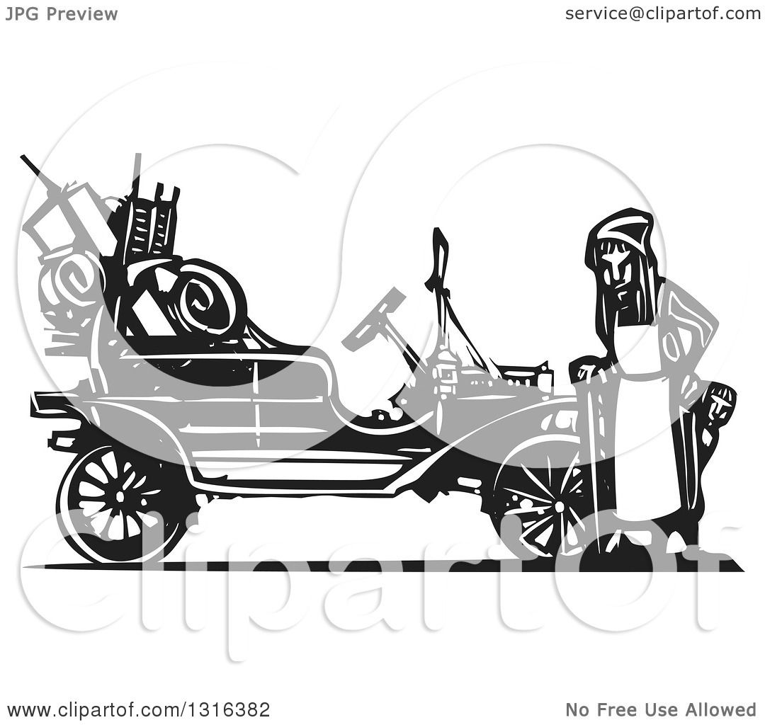 Clipart of a Black and White Woodcut Old Woman and Children ...