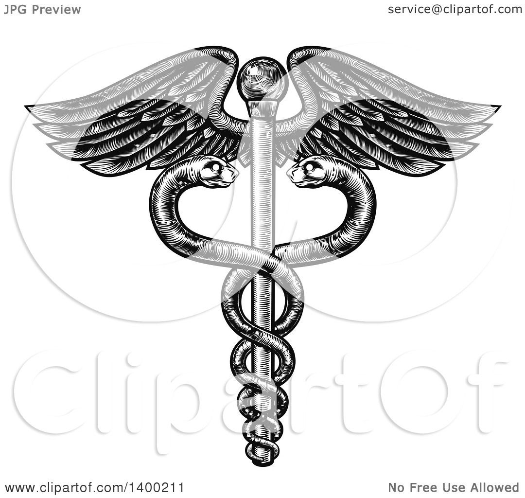 Clipart of a black and white woodcut or engraved medical caduceus clipart of a black and white woodcut or engraved medical caduceus with snakes on a winged rod royalty free vector illustration by atstockillustration buycottarizona