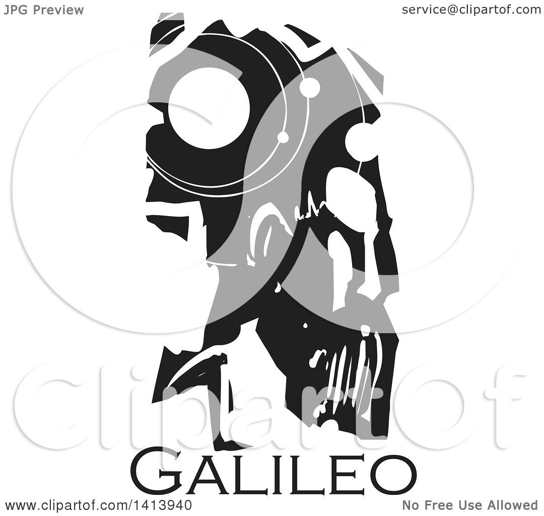 Clipart Of A Black And White Woodcut Profile Portrait Of A