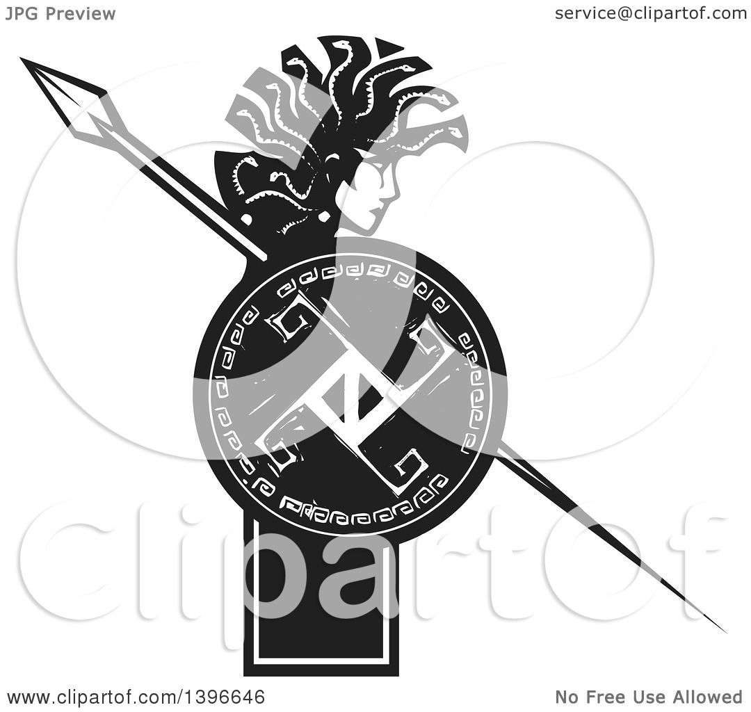 Clipart of a Black and White Woodcut Profiled Medusa with Her ...
