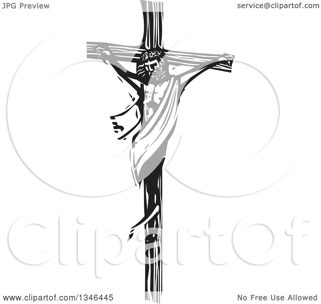 Clipart Of A Black And White Woodcut Scene Of Jesus On The