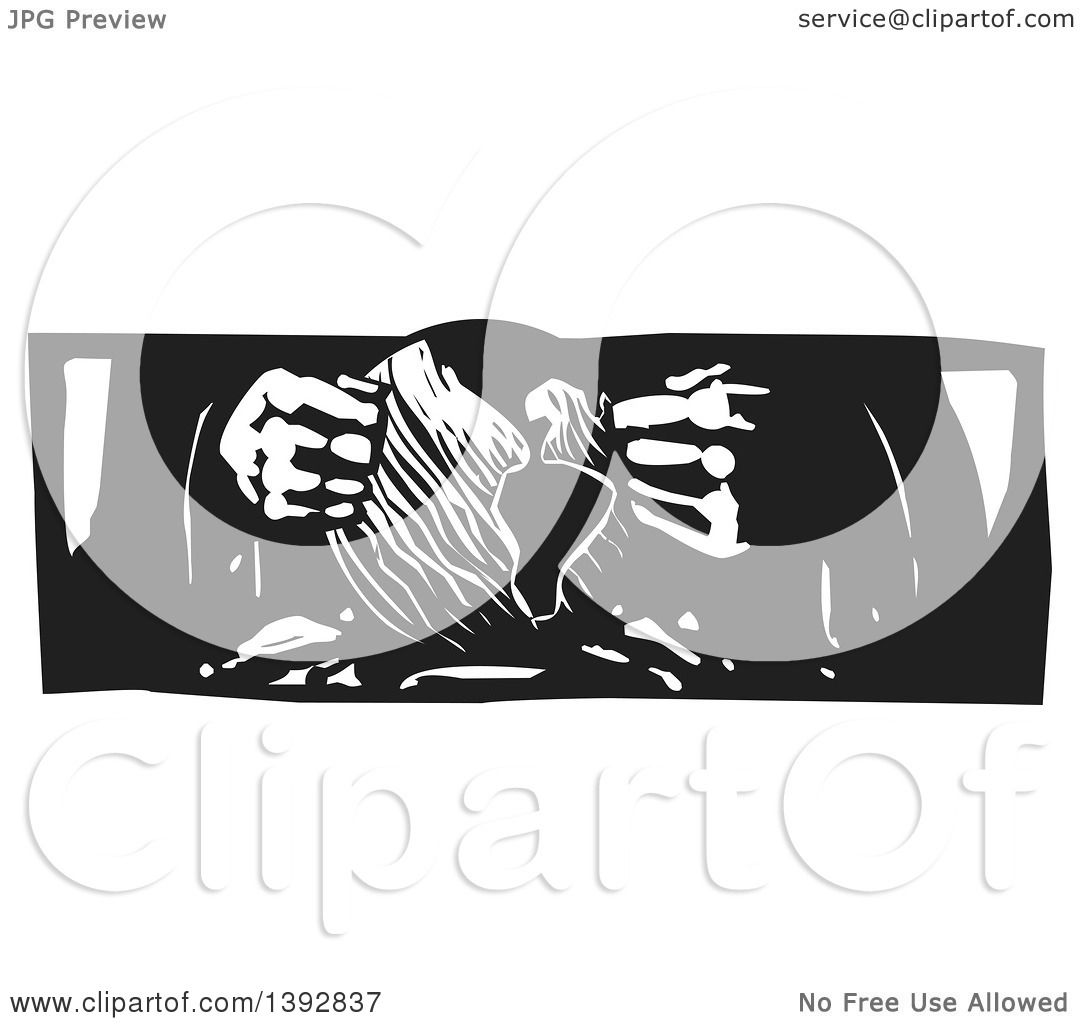 Clipart of a Black and White Woodcut Sculptor's or God's Hands ...