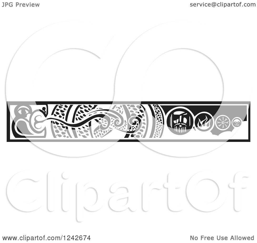 Clipart of a Black and White Woodcut Serpent and Viking Border Royalty Free Vector