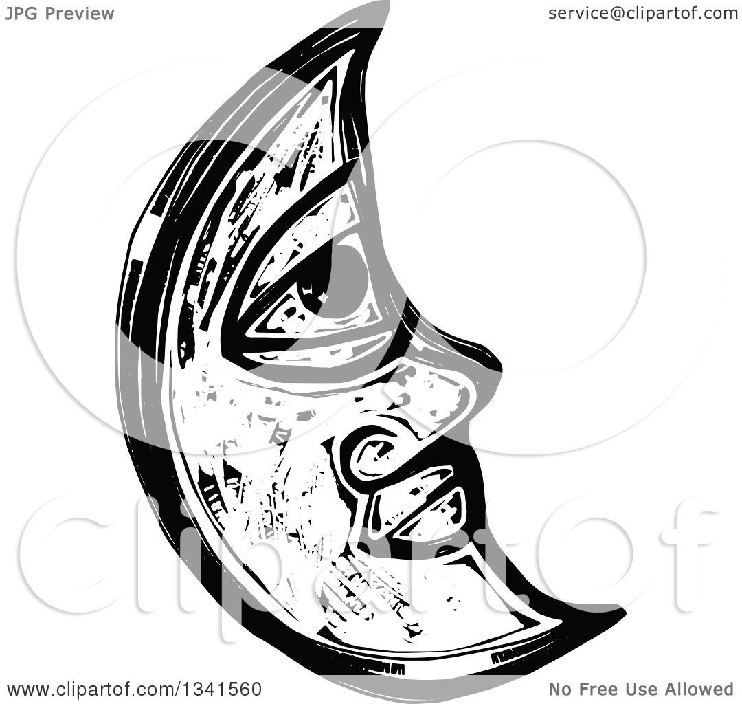 Clipart Of A Black And White Woodcut Styled Crescent Moon Face