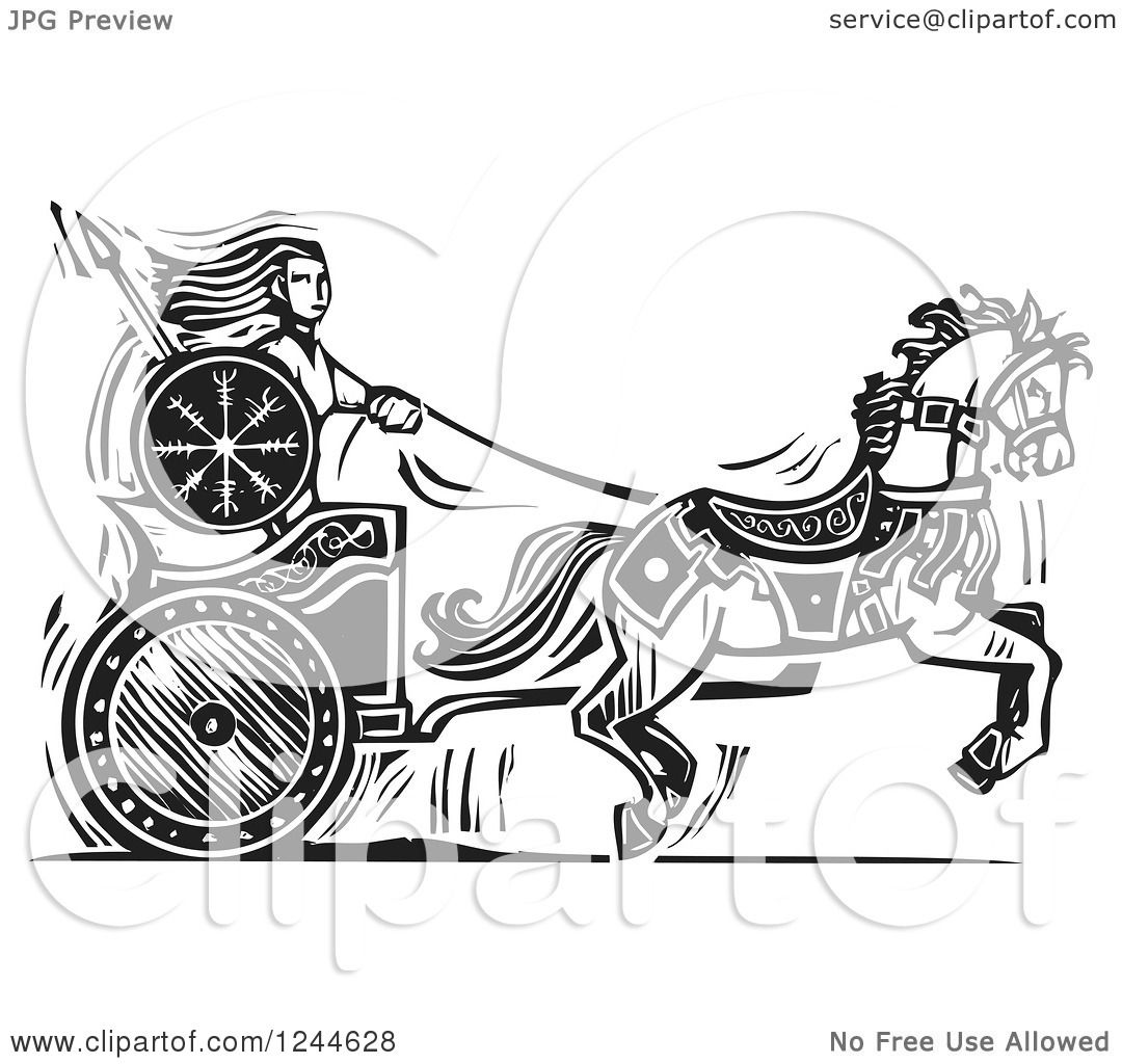 Clipart of a Black and White Woodcut Viking Valkyrie and Horse ...
