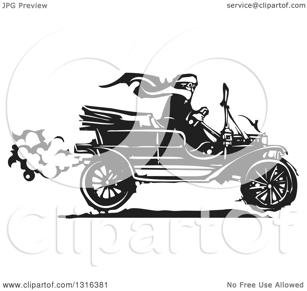 Clipart of a Black and White Woodcut Woman Wearing a Scarf and ...
