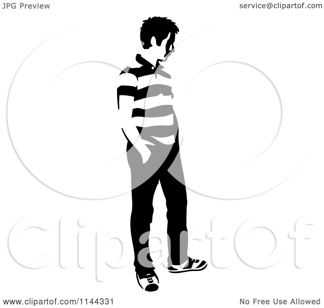 Clipart of a Black and White Young Man Standing and ...