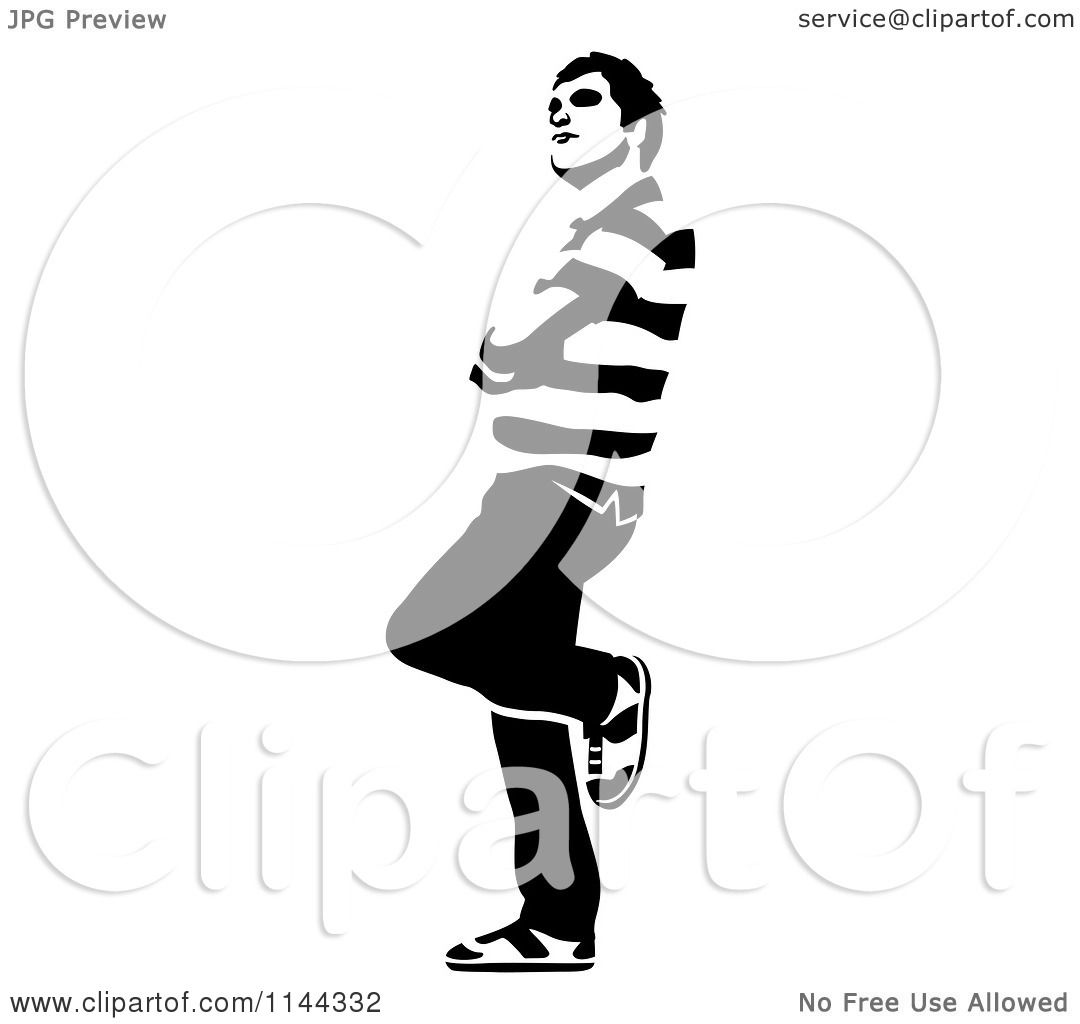 Clipart of a Black and White Young Man Waiting and Leaning ...