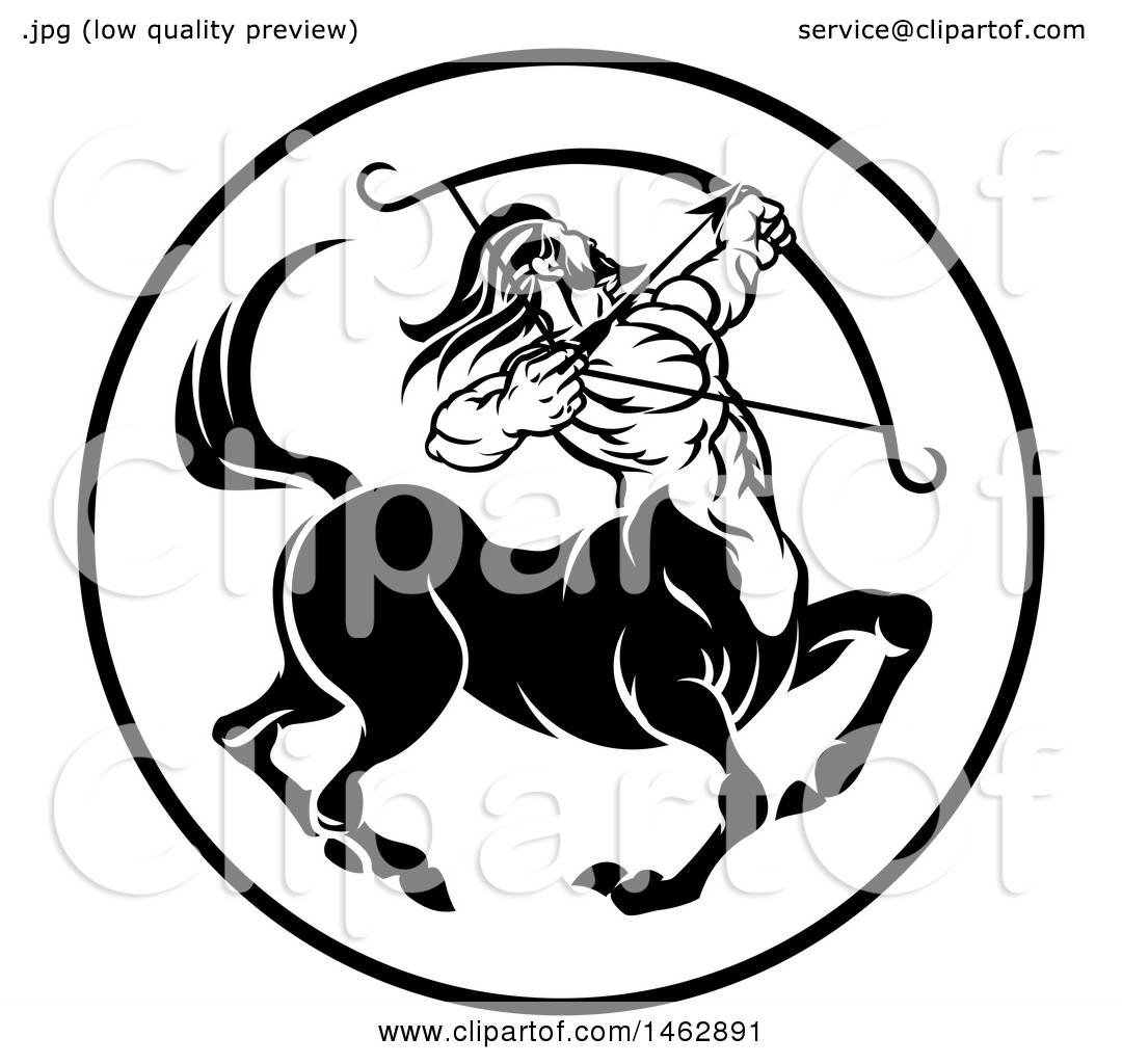 Clipart of a black and white zodiac horoscope astrology centaur clipart of a black and white zodiac horoscope astrology centaur sagittarius circle design royalty free vector illustration by atstockillustration biocorpaavc Images
