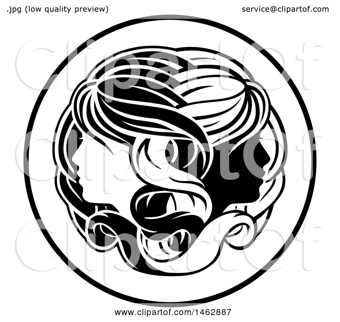 Clipart of a black and white zodiac horoscope astrology gemini clipart of a black and white zodiac horoscope astrology gemini twins circle design royalty free vector illustration by atstockillustration biocorpaavc Images