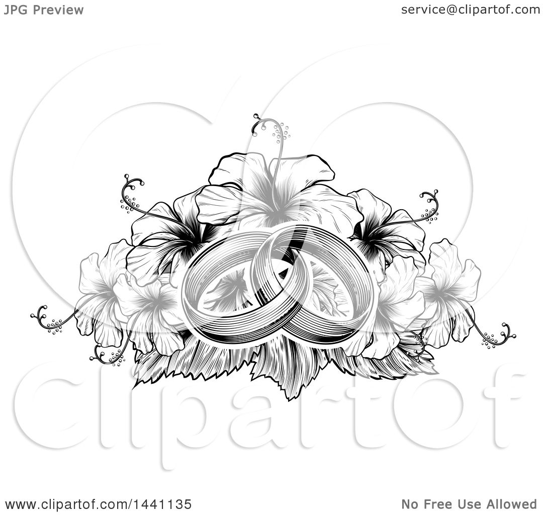 Clipart of a black and winte vintage woodcut or engraved entwined clipart of a black and winte vintage woodcut or engraved entwined wedding rings on a hibiscus flower bouquet royalty free vector illustration by izmirmasajfo
