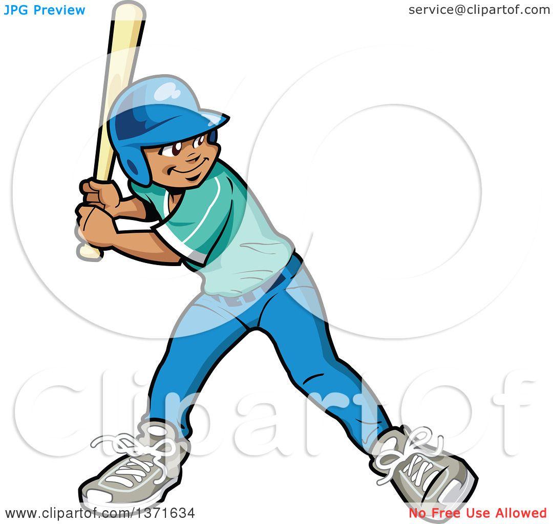 Clipart Of A Black Baseball Player Boy Batting - Royalty ... (1080 x 1024 Pixel)
