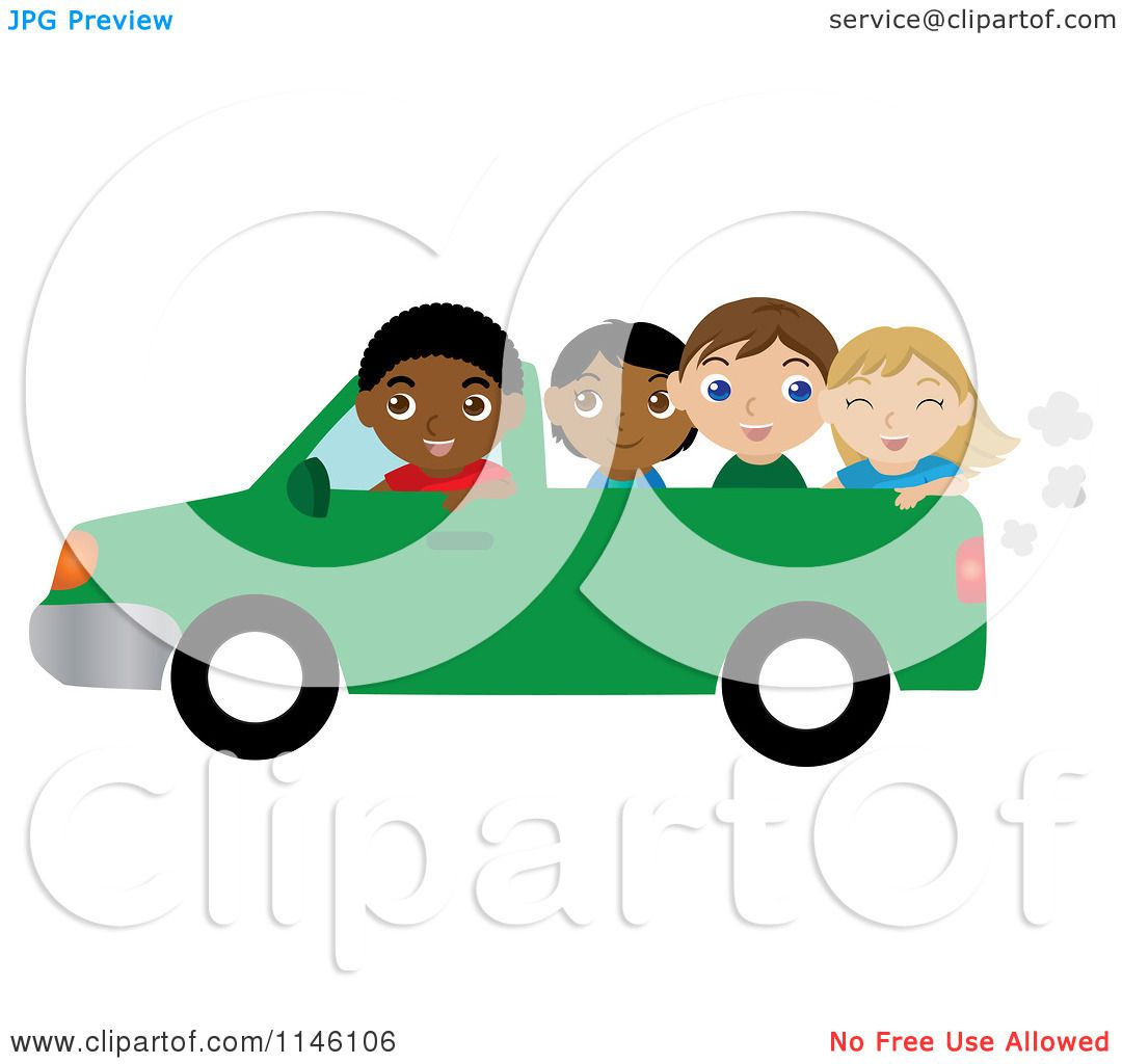 Green truck clipart royalty free rf pickup truck clipart - Clipart Of A Black Boy Driving A Pickup Truck With Children In The Bed Royalty Free Cgi Illustration By Rosie Piter